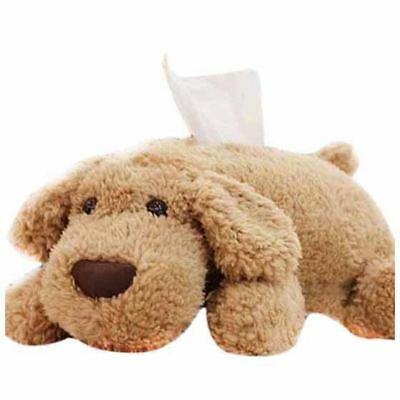 Lovely Dog Plush Soft Tissue Box Covers Holder Brown E3Y4