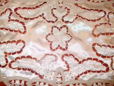 Antique French  Lace Hand Made Doily Fine with Hand Made Lace Border