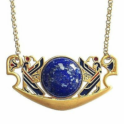"Egyptian Lapis Pectoral Necklace Gold-Plated w/ Large Lapis Cabochon 18"" Chain"