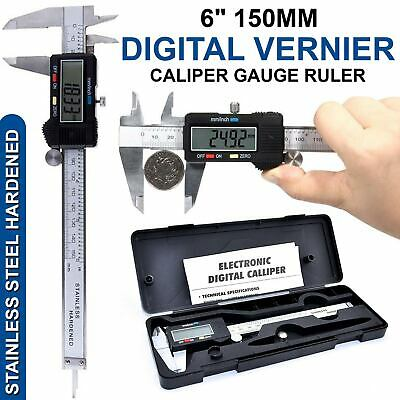 "LCD Digital Display Gauge Stainless Steel Vernier 150mm 6"" Caliper Micrometer"