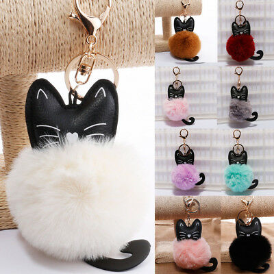 Lovely Keyring Soft Fluffy Fur PU Cat Handbag Pendant Pompom Ball Keychain Gifts
