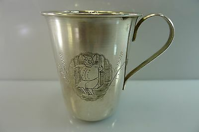 ANTIQUE VINTAGE BEAUTIFULLY ENGRAVED LIGHTWEIGHT (46.9 g.) SILVER CUP AND SAUCER