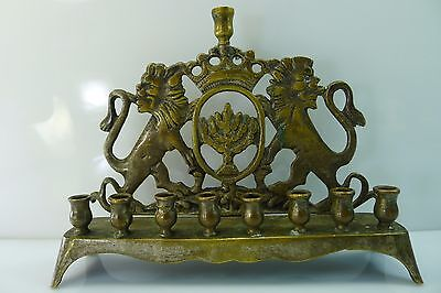 Rare Antique / Vintage Solid 729 Grams Brass Jewish Symbols Hanukkah Menorah