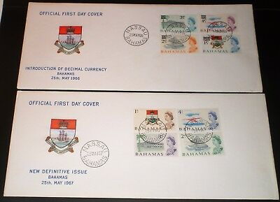 Bahamas 1966 - 1967 QEII Introduction of decimal currency 2 First Day Covers