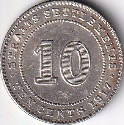 Straits Settlements , 10 Cents 1917 , Silber , ss
