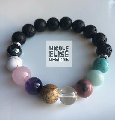 Aromatherapy Diffuser Bracelet 9 Stones Chakra Useful For Anxiety 10mm