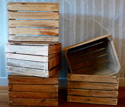 6 Wooden Apple Crates Fruit Boxes Home Decor Rustic Vintage Display Cleaned