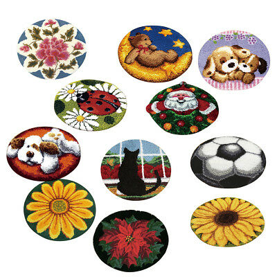 Latch Hook Rug Kits for Woman Men DIY Cat Dog Ladybug Santa Claus Cushion Making