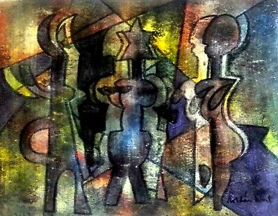 """The Walkers And Talkers. Original Painting  18"""" X 14"""" By RoWest. W/COA"""