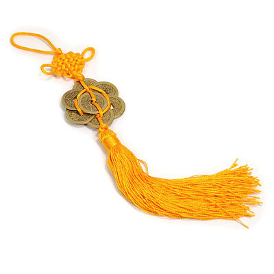 FENG SHUI 8 COIN TASSEL GOLD Hanging Cure Good Fortune Health Spiritual Yang Chi