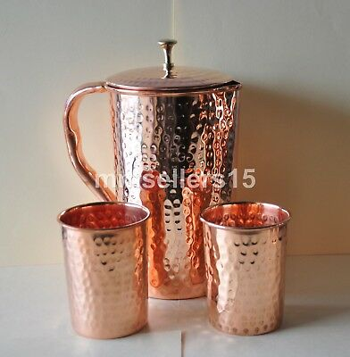 Pure Copper Handmade Hammered Jug Water Pitcher 1.5 L & 2 Glasses Tumbler 300 ml