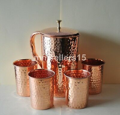 Pure Copper Handmade Hammered Jug Water Pitcher 1.5 L & 4 Glasses Tumbler 300 ml
