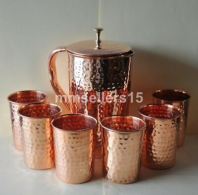 Pure Copper Handmade Hammered Jug Water Pitcher 1.5 L & 6 Glasses Tumbler 300 ml