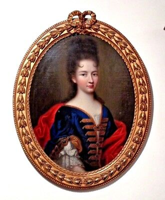 Amazing Portrait Of A French  Lady  17th Century Original Oil Painting