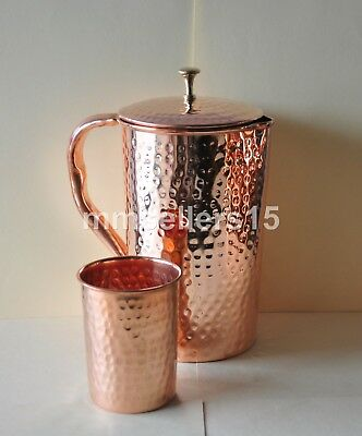Pure Copper Handmade Hammered Jug Water Pitcher 1.5 L & Glass Cup Tumbler 300 ml
