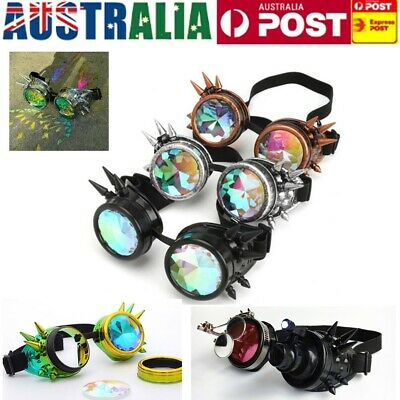 Steampunk Rave Glasses Kaleidoscope Prism Sunglasses Crystal Lens Rainbow Party