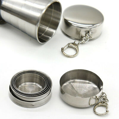 Stainless Steel Travel Telescope Foldable Glass Emergency Pocket Folding Cup Hot
