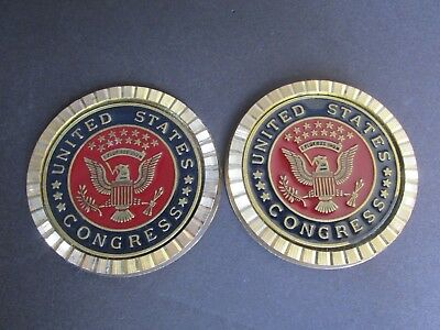 2 United States US Congress Brass Coasters Red/Gold/Black