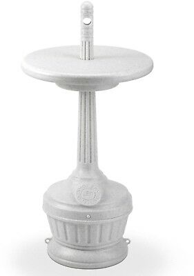 Cigarette Receptacle w/ Patio Table - White Ashtray Outdoor Smoking Cigar Floor
