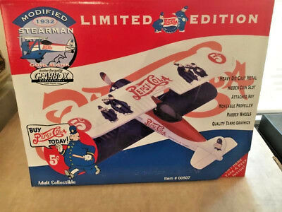 Pepsi Cola Stearman Die-Cast Bank Plane (Empty Box) Excellent