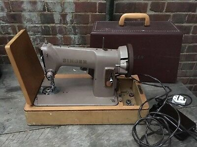 Vintage Singer 185K Electric Sewing Machine Accessories & Case(Lid)Working