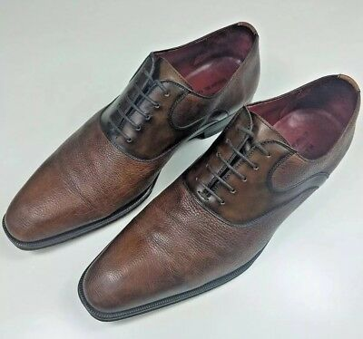 2d219ead7 Magnanni for Bergdorf Goodman Mens Size 43.5 EU 9.5 US Brown Leather Dress  Shoes