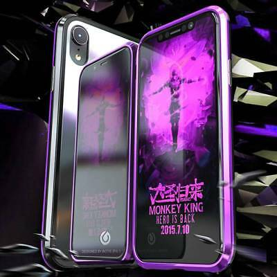 Magnetic Adsorption Metal Case Tempered Glass Cover For iPhone X 7 8 Plus XS MAX