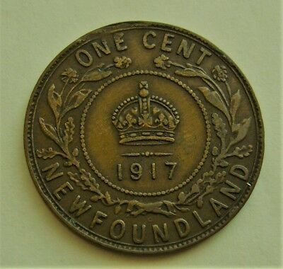 1917 NEWFOUNDLAND LARGE 1 CENT Coin