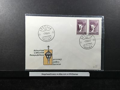 Lithuania FDC 7 Oct 1990 Independence Pair Unaddressed
