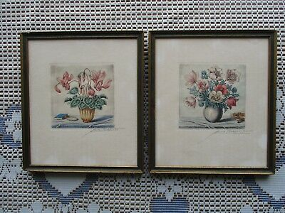 Nice Pair of Antique Vintage German Hand-Colored Signed Floral Etchings