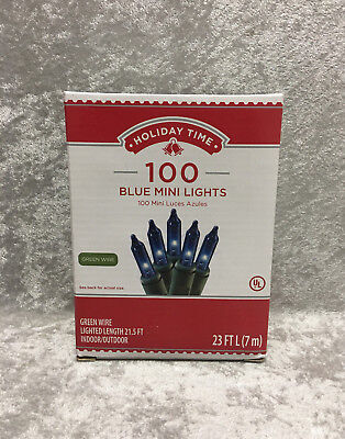 Holiday Time 100 Blue Mini Lights Green Wire Christmas