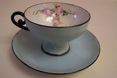 Antique Pedestal  Blue China Cup and Saucer, Iridized, Pink Roses, Black Trim