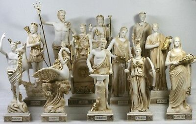 SET 12 Twelve Greek Roman Olympian Gods Pantheon Statue Sculpture Figure 10""