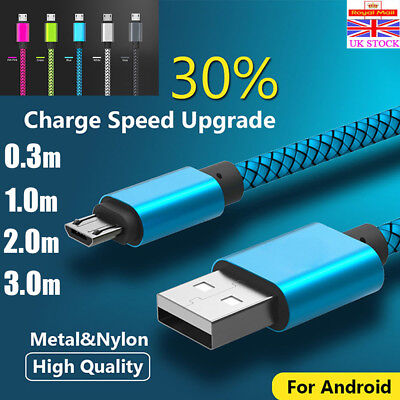 Strong Braided Long USB Charger Charging Cable 2M 3M For Samsung Galaxy S7 S6 S5