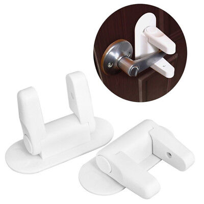 1X(Child Proof Adhesive Anti Opening Door Lever Lock Baby Kids Safety Prote K0Q0