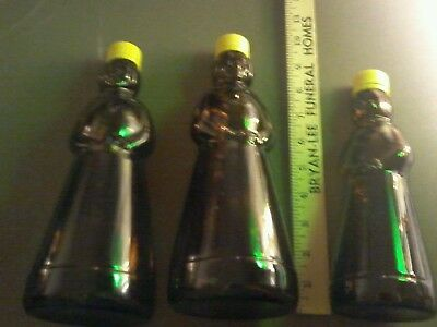 Mrs. Butterworth's Brown Glass Bottles Lot Of Three (3) With Plastic Lids