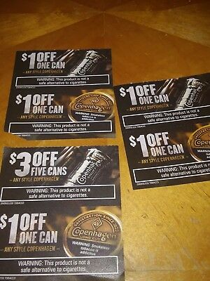 Lot of 6 Copenhagen coupons $8 value
