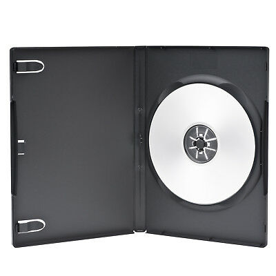 100 Economy Standard 14mm Black Single DVD Cases with Clear Overlay Holds 1 Disc