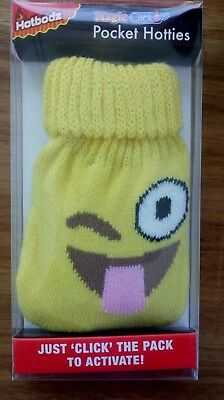Hand Warmer Reusable with fun puzzled Yellow wink knitted emoji cover hart