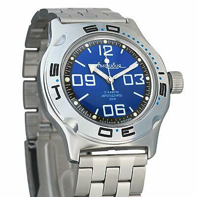 Vostok Amphibian 100815 Russian Automatic Divers Wrist Watch 200m Auto Blue