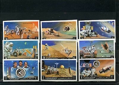 Ajman 1972 Space Research/apollo 15 Set Of 9 Stamps Imperf.mnh