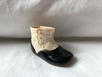 Raine Just the Right Shoe Miniature High Button Baby Shoe Black White Pearl