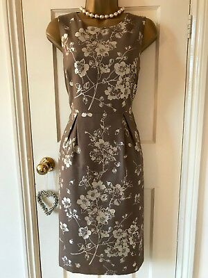 Bnwt Elegant Tailored, Hobbs Taupe, Gold Embroidered Floral Shift Dress Uk 8