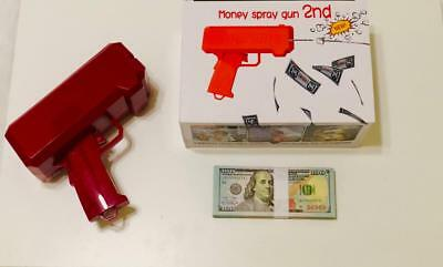 MONEY SPRAY CASH GUN WITH Realistic Double Sided Prop Money $10,000 **NEW**