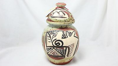 Alfajar Ceramic Hand Painted Fine Art Covered Vase Vessel Jar - Malaga Spain