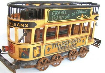 Vintage French wood & cast iron Double Decker street trolley display model, 26""