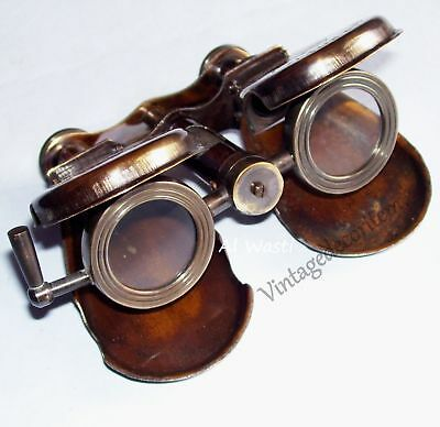 Antique Vintage Royal Navy London 1917 Folding Nautical Solid Brass Binocular