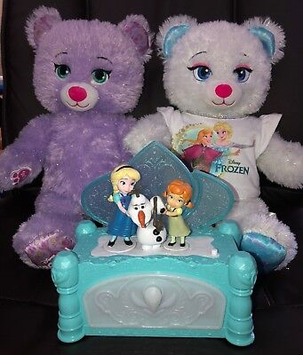 "Build A Bear Disneys Frozen Anna & Elsa 16"" Plush Bears Plush/Music Jewelry Box"