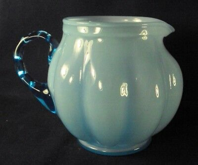 Early Fenton blue overlay pitcher glass 1940's melon ribbed N