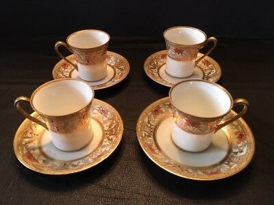 Art DECO Antique Nippon Moriage Hand Painted Demitasse Chocolate Cup and Saucer